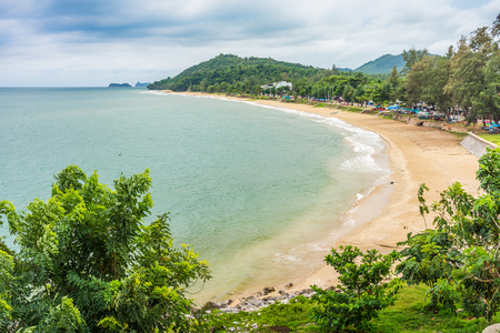 seawater: Aerial view of  Hat Sai Ri beach. It is the large curved beach in Chumphon province, Thailand. Stock Photo
