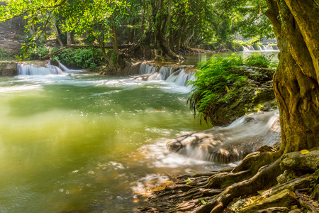 namtok: Scenery view of the second tier of Namtok Chet Sao Noi waterfall. It is small waterfall in Saraburi province, Thailand.