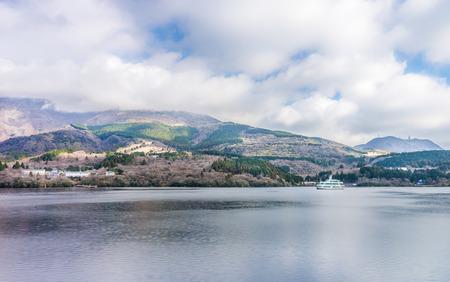 honshu: Mount Komagatake and Lake Ashi view. They are  landmarks in the Hakone area of Kanagawa Prefecture in Honshu, Japan. Stock Photo
