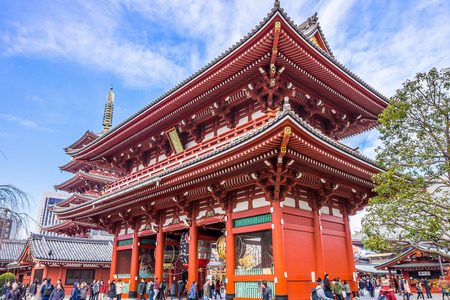 ultimately: TOKYO - DECEMBER 21, 2015:The Hozomon (Treasure-House Gate) is a two-story gate at Senso-ji Temple. It is the inner large entrance gate that ultimately leads to the Senso-ji in Asakusa, Tokyo, Japan.