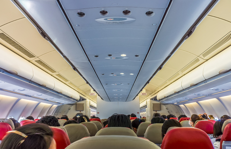 exits: Passengers on board flight of commercial aircraft. They are in a cabin seats of economy class.
