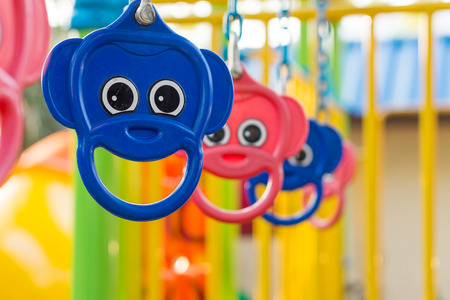 jungle gym: Hangers of jungle gym. It is an outdoor playground in public park. Stock Photo
