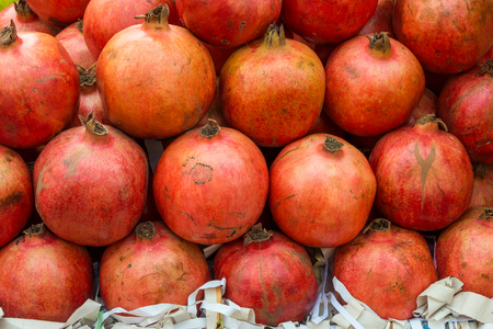 Pile of ripe pomegranate fruit. For sale in Thailand fresh market.
