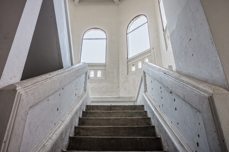 upstairs: Vintage stairway to upstairs. It is in an old palace.