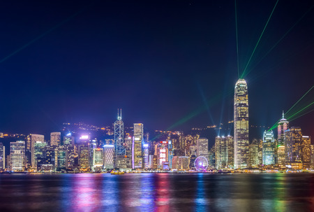 A Symphony of Lights show in Hong Kong. Cityscape panorama view from Victoria Harbour.