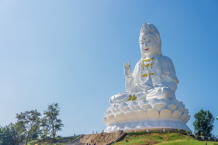 Giant statue of Quan Yin goddess of mercy, kindness  and compassion at Wat Huay Plakang 9 Tier Temple.
