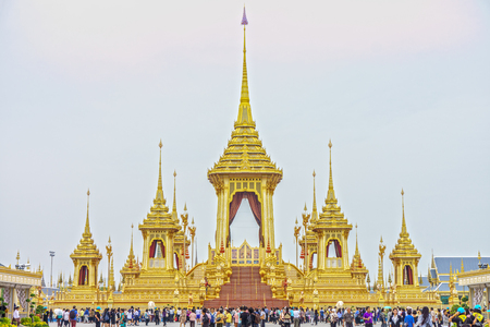 BANGKOK - NOV 6, 2017: Royal Crematorium for His Late Majesty King Bhumibol Adulyadej, Rama IX. It is at the Public Royal Cremation Exhibition in Sanam Luang, which is scheduled to end of November.