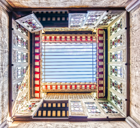 MACAU, CHINA - NOV 22, 2017: Under view of Lou Kau Mansion built with Portuguese decoration and Chinese architecture style. The old house is a historical building in Sé, Macau, China.