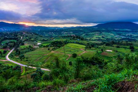 Scenery view from Khao Ta-Khian Ngo Viewpoint at dawn. Location in Khao Kho District, Phetchabun, Thailand, Southeast Asia. Stock Photo