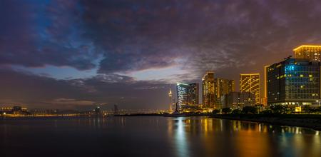 Panoramic view of East China Sea between Taipa Island and Macau Peninsula. Cityscape shooting from Macau Science Center.