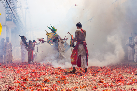 The procession of masong and litter in a vegetarian festival. This annual festival takes place from Oct 9 to Oct 17, 2018.