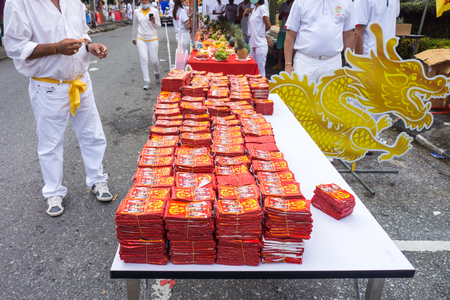TAKUA PA, PHANG NGATHAILAND - OCT 14, 2018: Chinese firecracker rolls in a vegetarian festival. This annual festival takes place from Oct 9 to Oct 17, 2018. Redakční