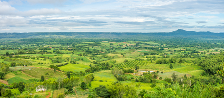 Panorama of rural area view from Khao Ta-Khian Ngo Viewpoint. Location in Khao Kho District, Phetchabun, Thailand, Southeast Asia.