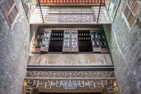 MACAU, CHINA - JUL 18, 2019: Interior designs of Lou Kau Mansion built with Portuguese decoration and Chinese architecture style. The ancient house is a historical building in Sé, Macau, China.