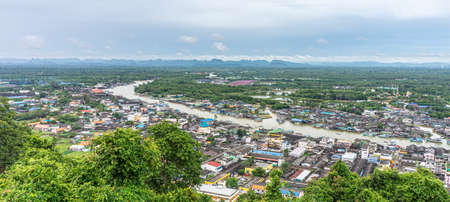 Panorama of Paknam Chumphon from view point. The location of seashore tourist attraction in Chumphon province, Thailand.