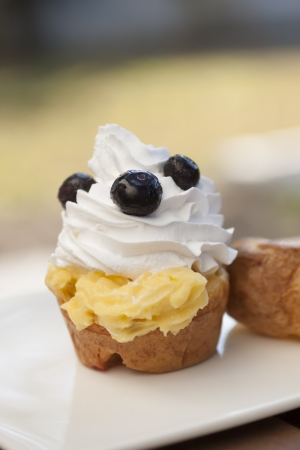 Choux crème vanille vla met bosbessen