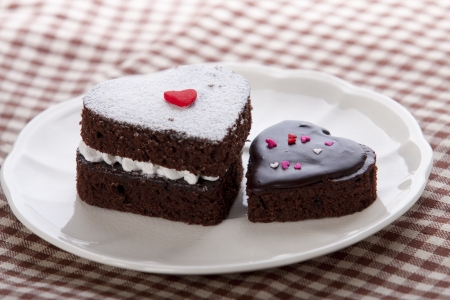 Heart shaped chocolate cake photo