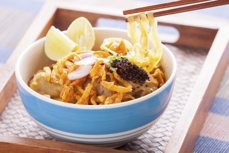 soi: khao soi curry noodle northern thai traditional food. Stock Photo