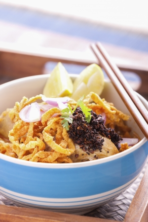 khao: khao soi curry noodle northern thai traditional food. Stock Photo
