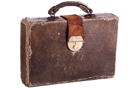 Old style brown leather briefcase isolated on a white background Stock Photo - 18150522
