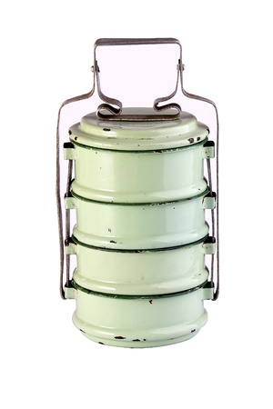 tiffin: Vintage Metal Tiffin ,Food Carrier isolated on white