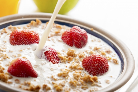 Healthy breakfast with milk,muesli and fruit  photo