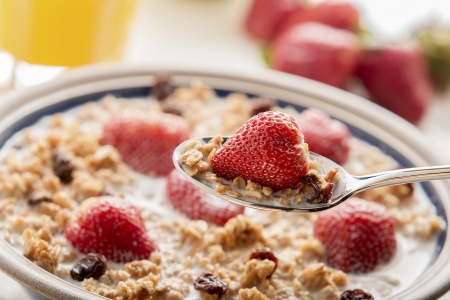Healthy breakfast with muesli and fruit  photo