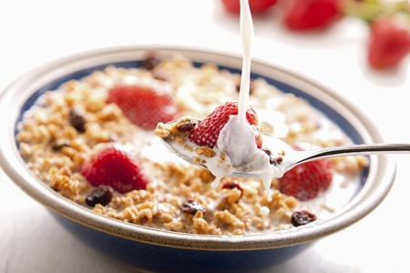 Healthy breakfast with milk,muesli and fruit  photo