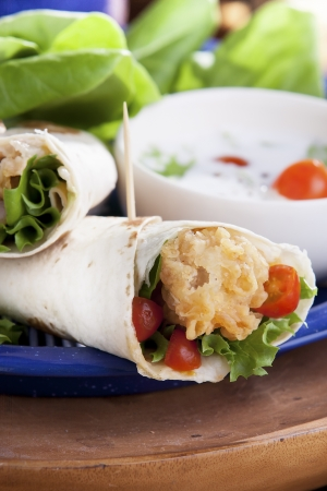 Fried Chicken Salad Sandwich Wrap photo