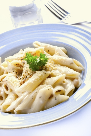 Penne pasta cream sauce and cheese  photo