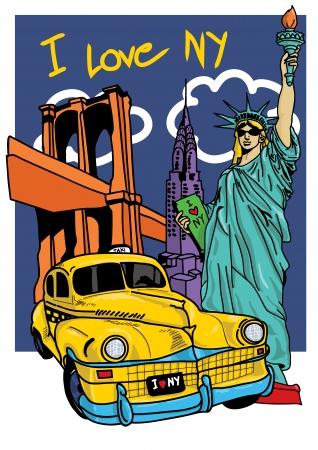 new cab: New york free hand pop art