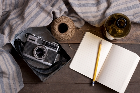 Vintage Camera and notebook with custom text space