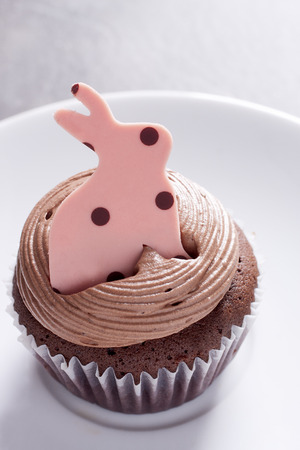 Chocolate cupcakes decorated with Easter Bunny put on a white plate photo