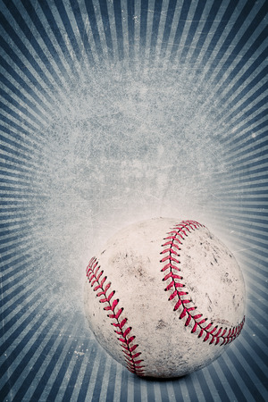 Vintage blue background with Baseball and copy space  photo