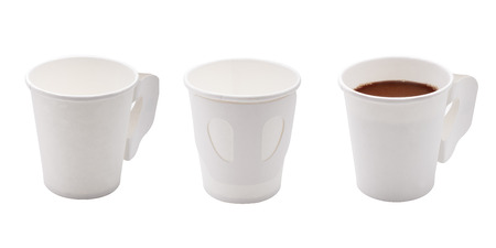 White Paper coffee cups isolated on white background. photo