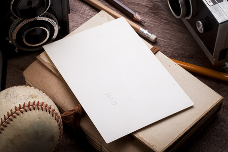 Blank of Photography with elements of Baseball journalist. photo