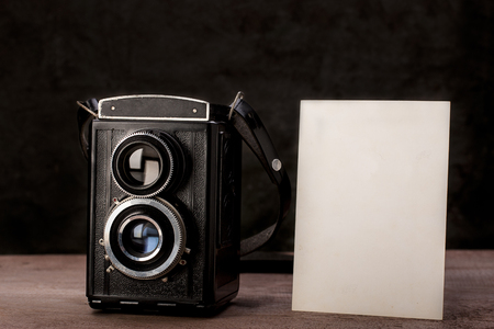 reflex camera: Blank photo with old twin lens reflex camera.