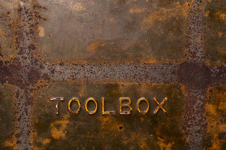 Rusty Old metal toolbox background with texture