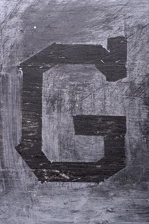 Zwarte grunge alfabet plakband effect.Letter G