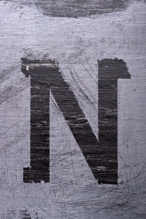 Zwarte grunge alfabet plakband effect.Letter N Stockfoto