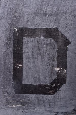 Black grunge alphabet sticky tape effect.Letter D