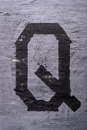 sticky tape: Black grunge alphabet sticky tape effect.Letter Q Stock Photo