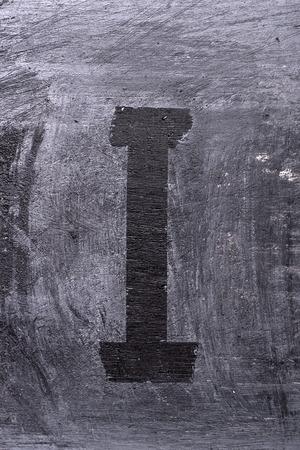 Black grunge alphabet sticky tape effect.Letter I Фото со стока