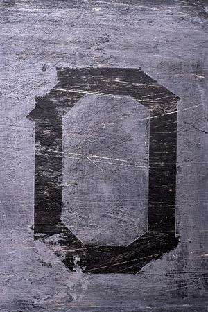Zwarte grunge alfabet plakband effect.Letter O Stockfoto