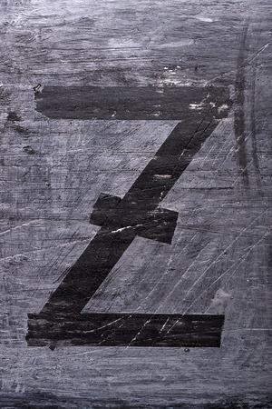 Black grunge alphabet sticky tape effect.Letter Z