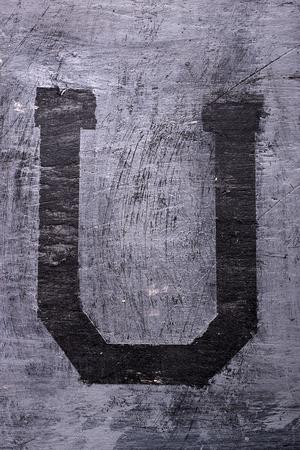 sticky tape: Black grunge alphabet sticky tape effect.Letter U