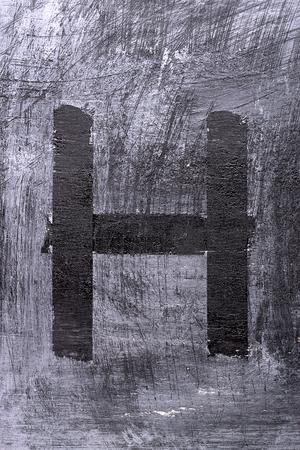 Black grunge alphabet sticky tape effect.Letter H