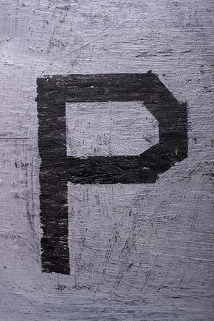 Black grunge alphabet sticky tape effect.Letter P Фото со стока