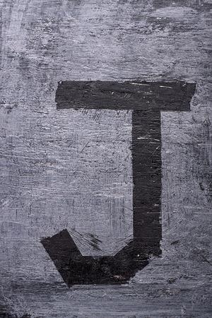Black grunge alphabet sticky tape effect.Letter J