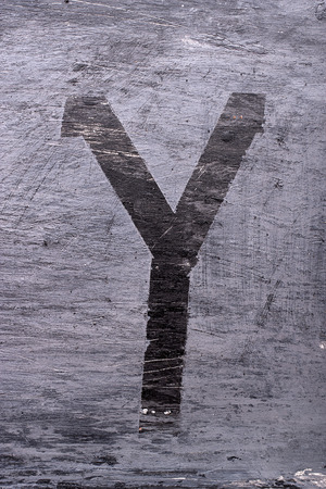 Black grunge alphabet sticky tape effect.Letter Y Фото со стока
